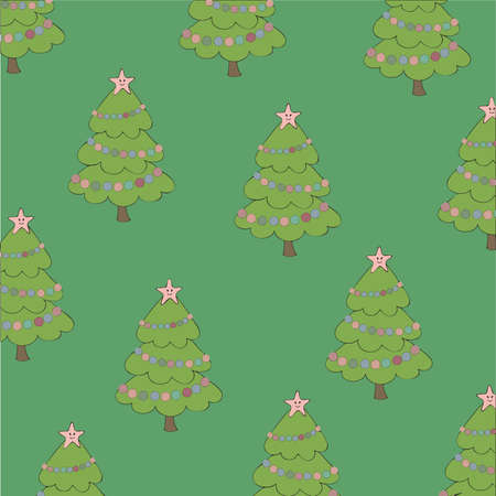 green background with Christmas tree Vector