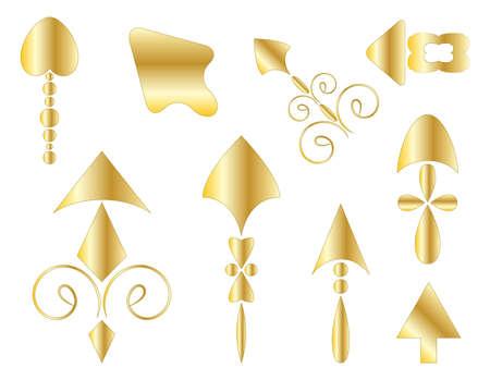Golden arrows.  illustration
