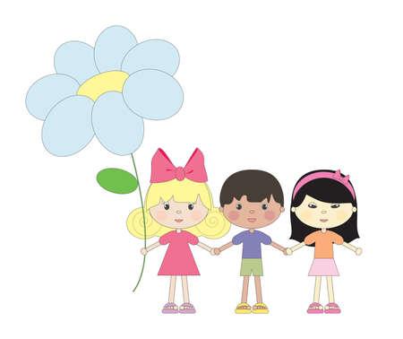 International kids. Vector illustration