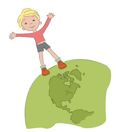 Cheerful boy on Earth Illustration