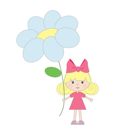 cute girl cartoon: Little girl with flower, isolated Illustration