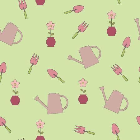 Seamless illustration of garden elements Vector