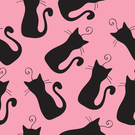 cute kitten: Seamless background with cats