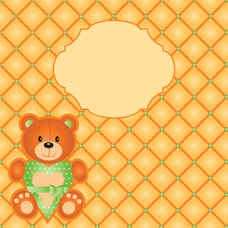 orange card with teddy bear Stock Vector - 8366269