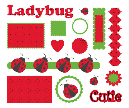 Digital  scrapbook with ladybug Vector