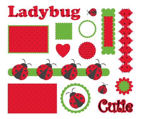 Digital  scrapbook with ladybug Zdjęcie Seryjne - 8366271