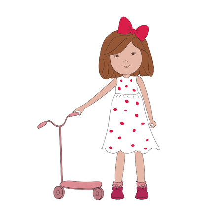 Vector illustration of little girl with scooter