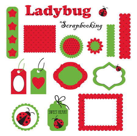 Digital vector scrapbook with ladybug. Part 2