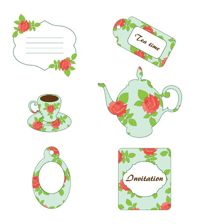Tea time. Vector vintage scrapbooking