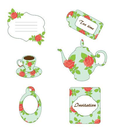 tea hot drink: Tea time. Vector vintage scrapbooking