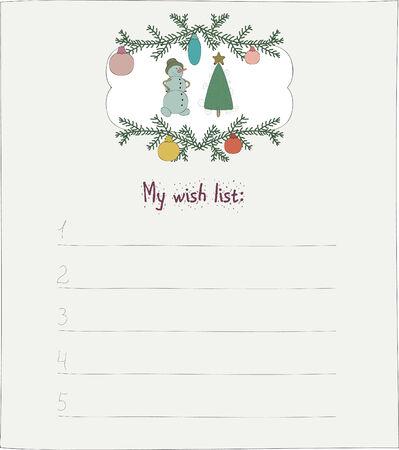 Blank wish list. Vector illustration Vector