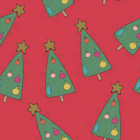 Seamless wallpaper Christmas tree Vector