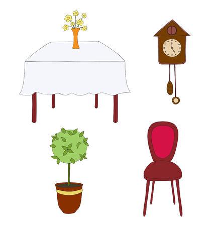 Vector, hand getekende illustratie van interieur elementen