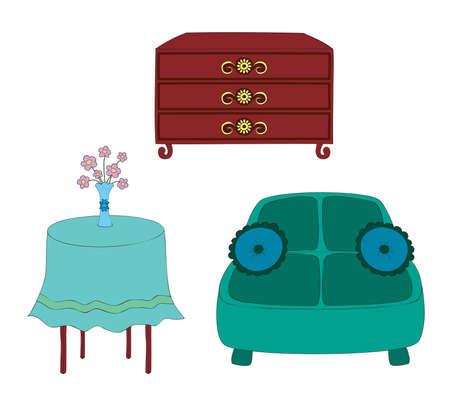 Vector, hand drawn illustration of furniture