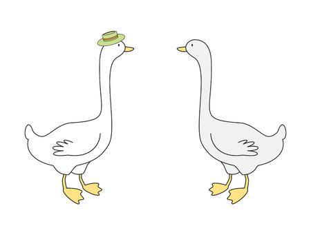 Ilustración vectorial de dos gooses Foto de archivo - 8546075