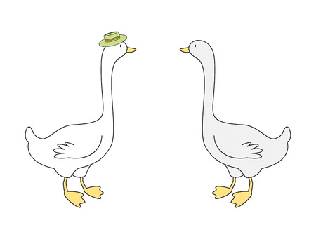 Vector illustration of two gooses Illustration