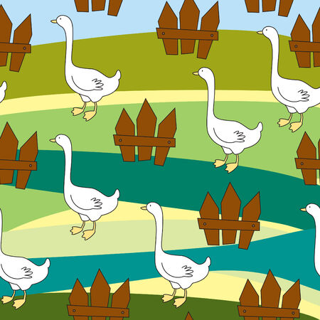 Seamless with gooses and fences Stock Vector - 8558439