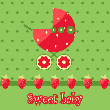 Sweet baby. Vector strawberry card