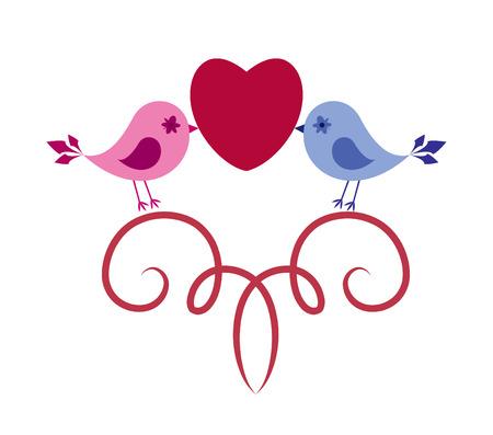 Birds in love.  illustration Illustration