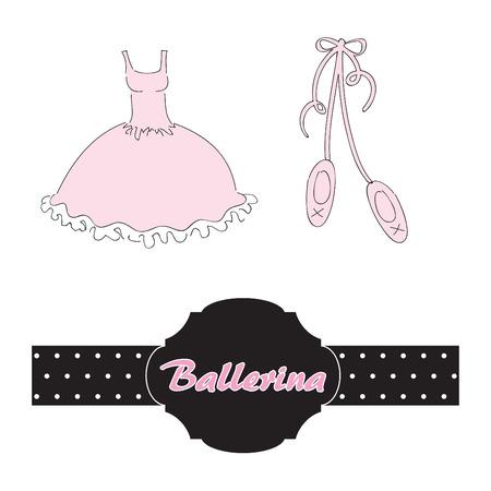 Set for ballerina.  illustration Vettoriali