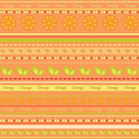 Seamless fruit wallpaper. Orange Vector