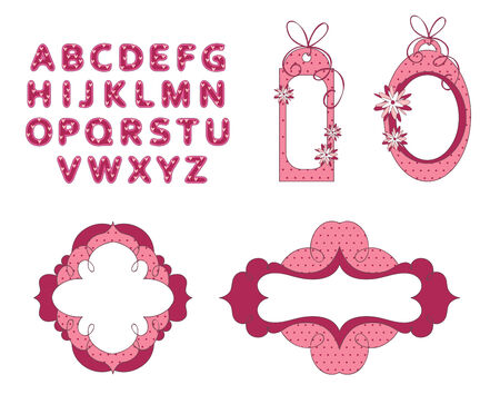 with sets of elements: Elegant, hand drawn frames with font
