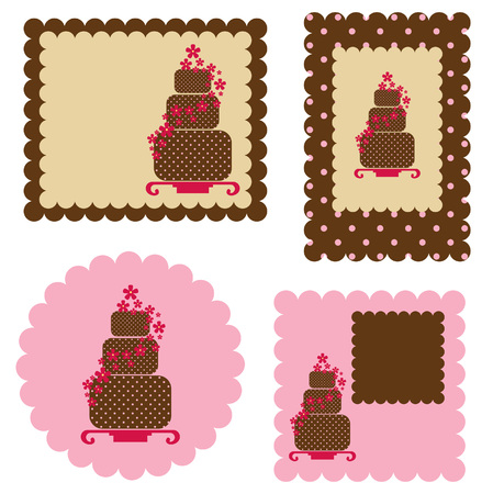 Cards design with cakes Vector