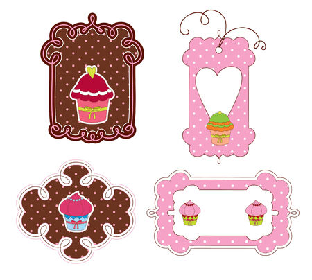 cupcakes isolated: Stickers design with muffins