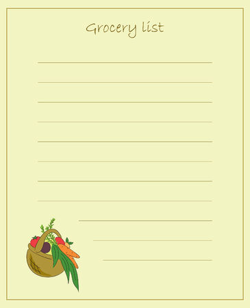 Vector grocery list Ilustrace