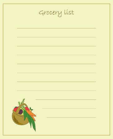 Vector grocery list Illustration