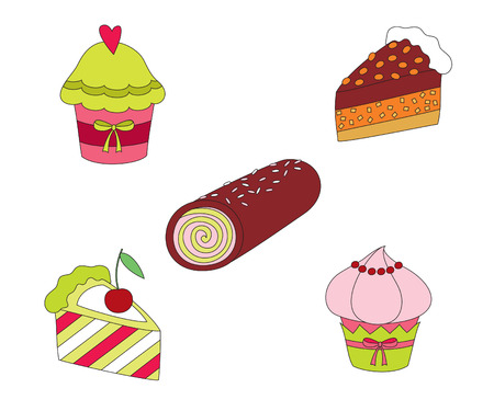 Hand drawn colorful sweets Stock Vector - 8882516