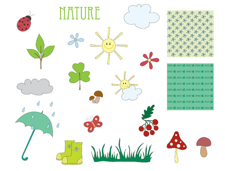 rain boots: Hand drawn elements of nature