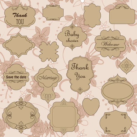 with sets of elements: Set of ornate vector frames and ornaments with sample text and blank also