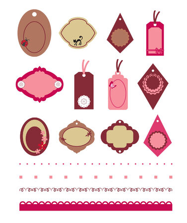 Set of sticker, tag and label pattern, isolated Stock Vector - 8906854