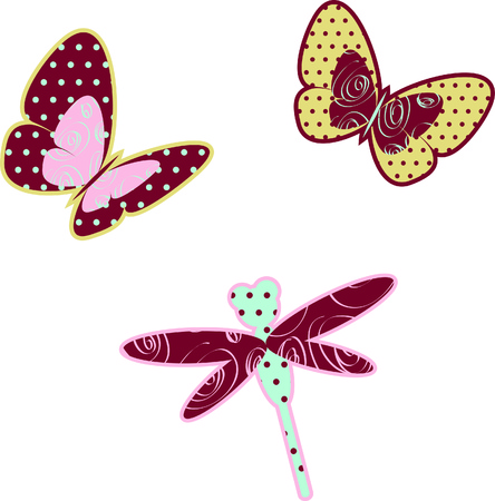 Decorated butterflies and dragonfly