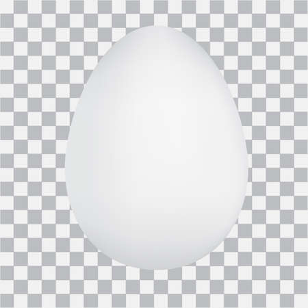 Realistic white egg on checked background