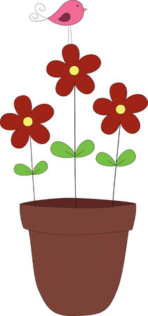 plant pot: Hand drawn illustration of flowers and a bird