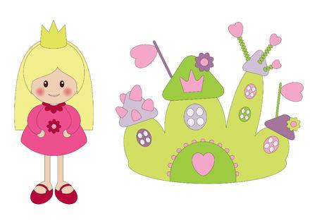 Little cute prinses en kasteel Stock Illustratie