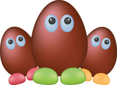 eggshells: Chocolate funny eggs Illustration