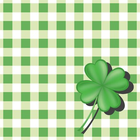 Clover on green checkered background 일러스트