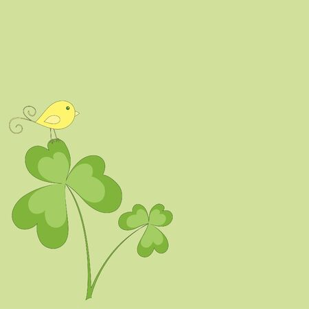 clover banners: Bird on a shamrock