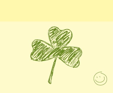 Hand drawn shamrock and smile on a sticky note Vector