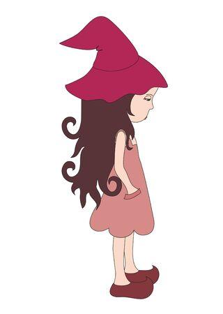 sad little girl: Sad little witch Illustration