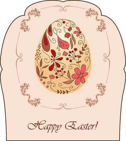 Vintage Easter card with hand drawn ornamental egg Vector