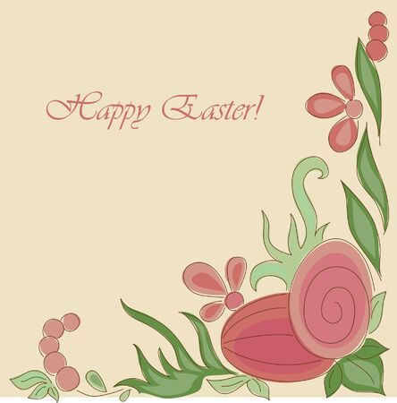hand drawn flower: Happy Easter. Hand drawn greeting card