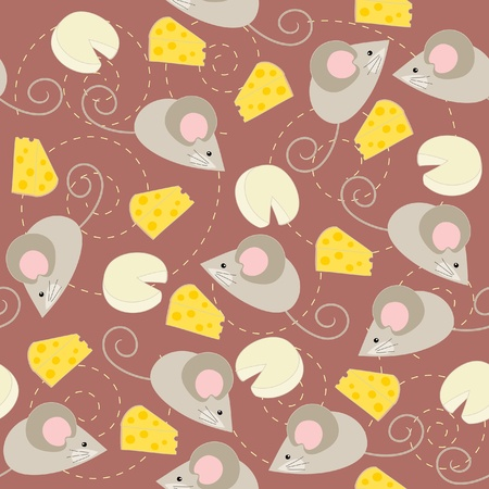 white cheese: Seamless wallpaper with mouse and cheese Illustration