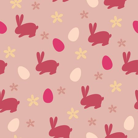 Seamless wallpaper with rabbit and egg Vector