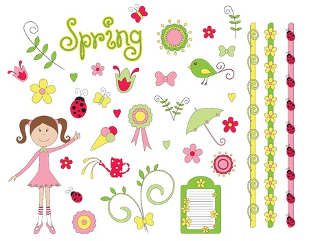 Hand drawn spring elements Vector