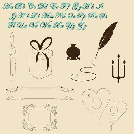 Hand drawn vintage elements and font Vector