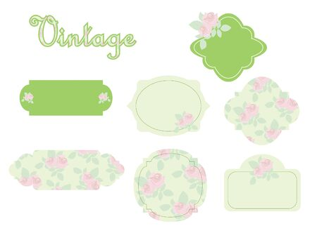 label frame: Vintage stickers with roses